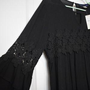 Francesca's Black Peasant Blouse, NWT, L